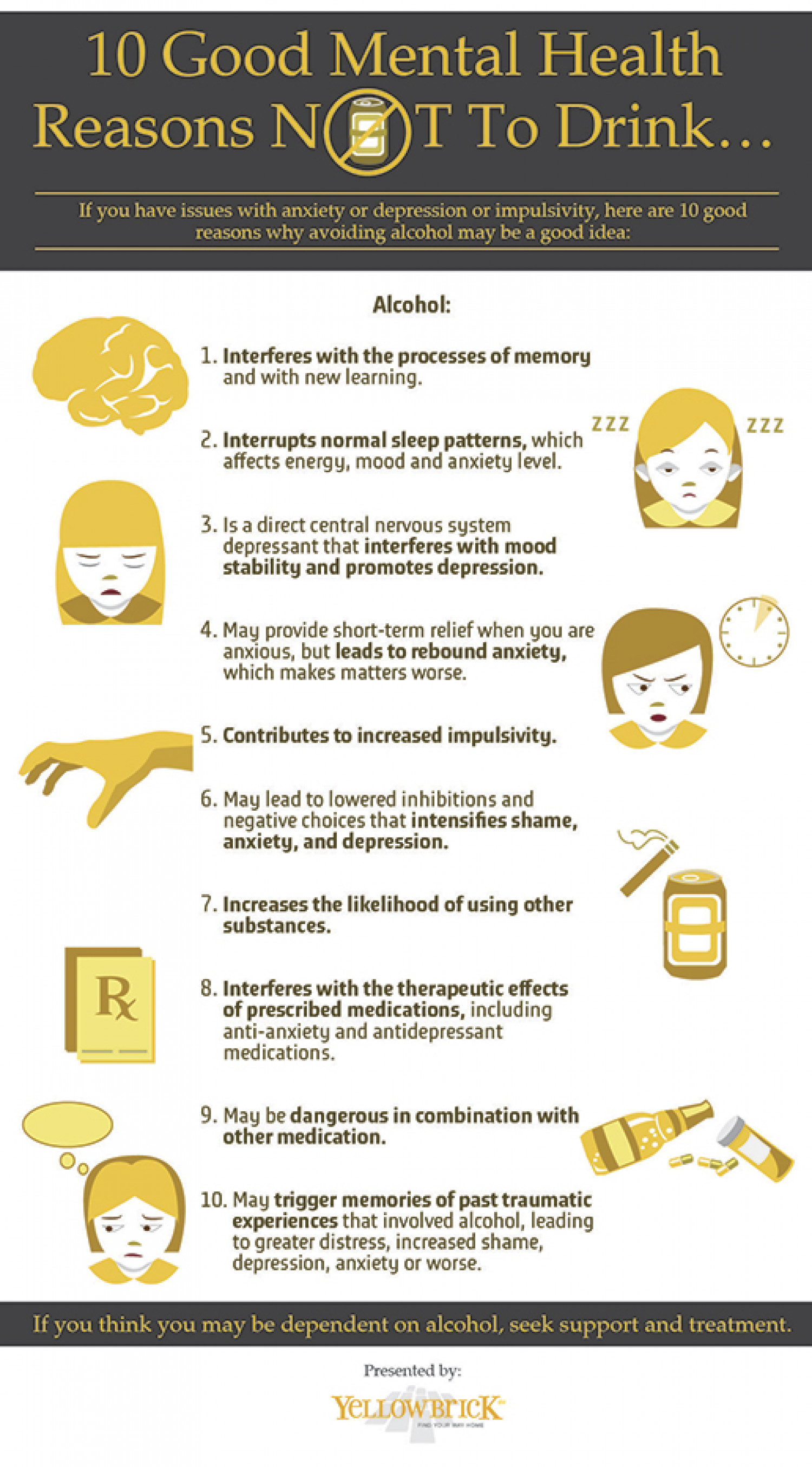 Ten Mental Health Reasons Not to Drink Alcohol Infographic