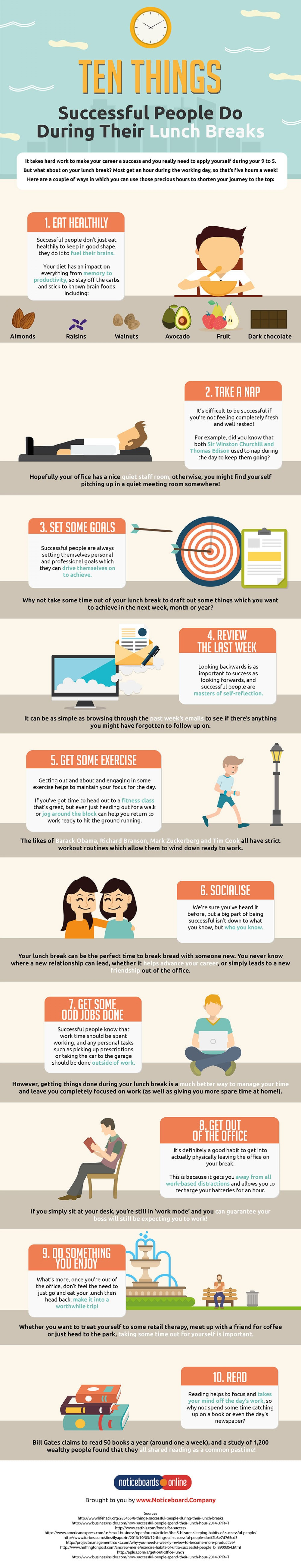 Ten Things Successful People Do During Their Lunch Breaks Infographic