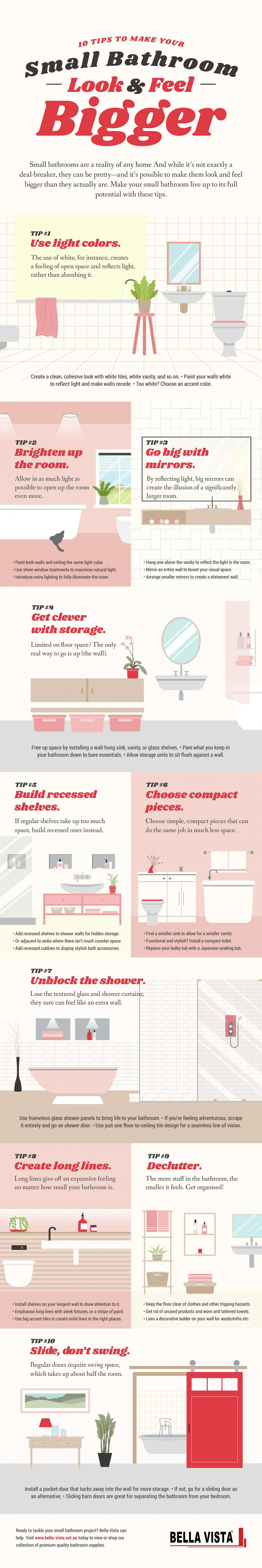 Ten Tips to Make Your Bathroom Look and Feel Bigger Infographic
