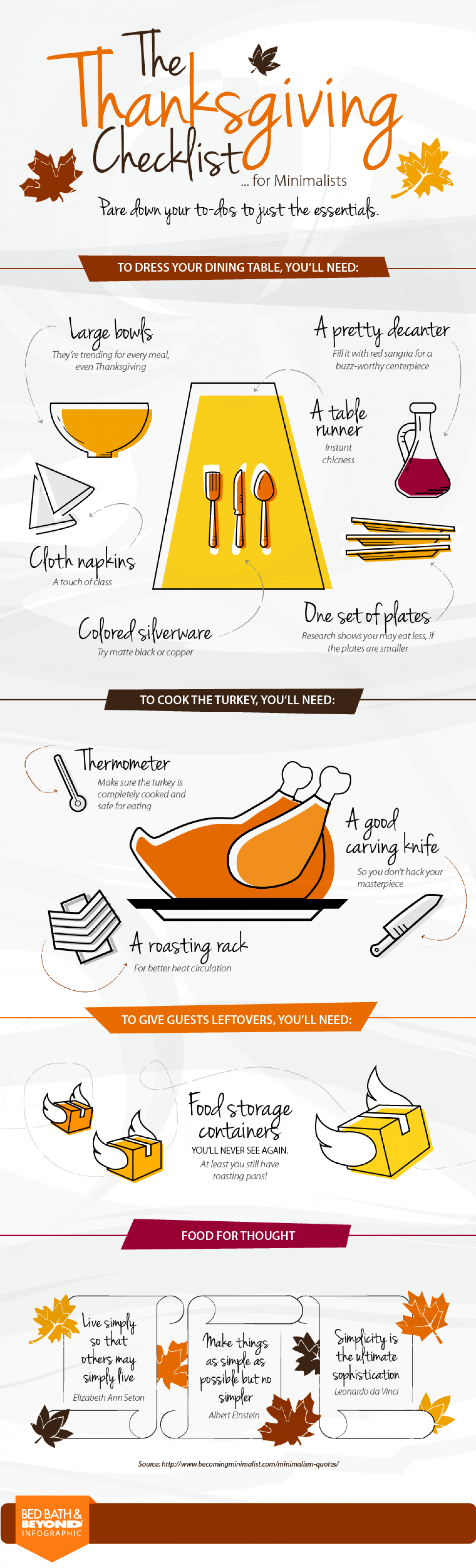 The Thanksgiving checklist for minimalists Infographic