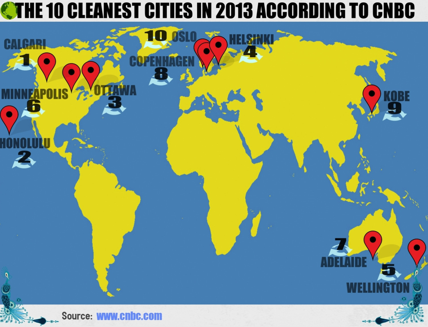 The 10 Cleanest Cities in 2013 According to CNBC Infographic