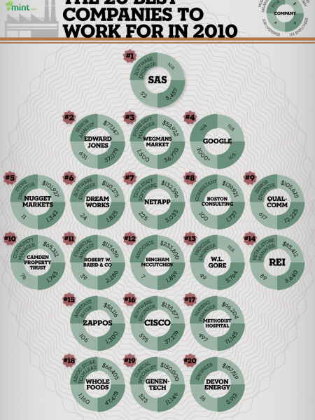 The 20 Best Companies to Work for in 2010 Infographic