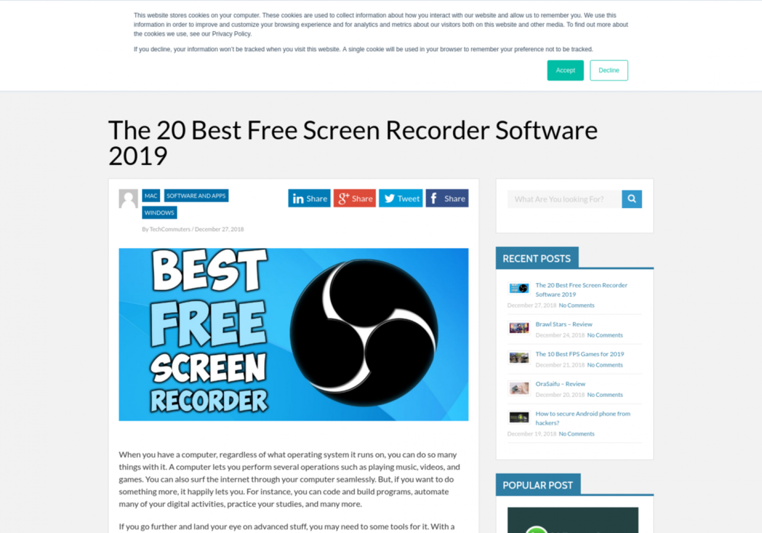 The 20 Best Free Screen Recorder Software 2019 Infographic