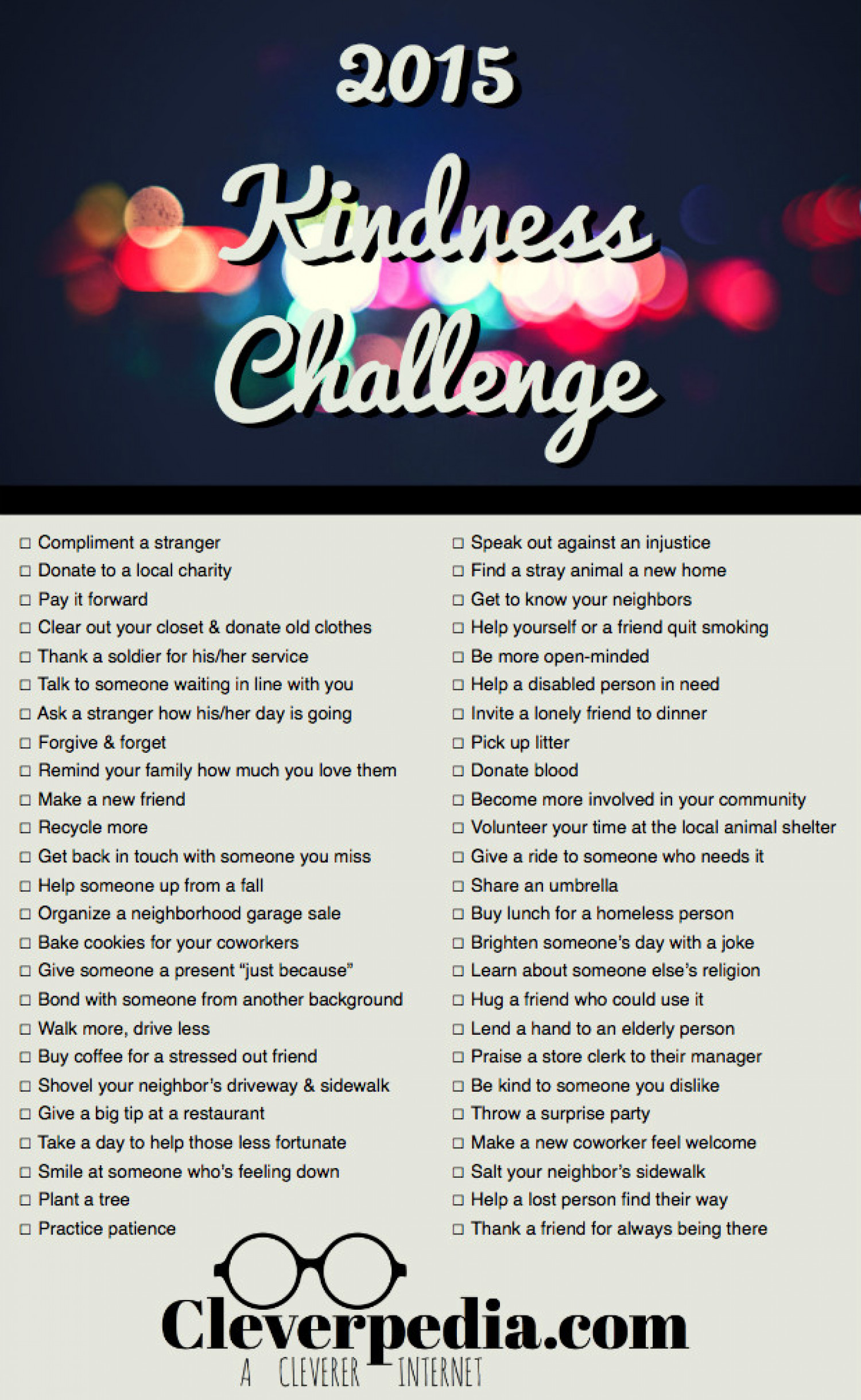 The 2015 Kindness Challenge Infographic