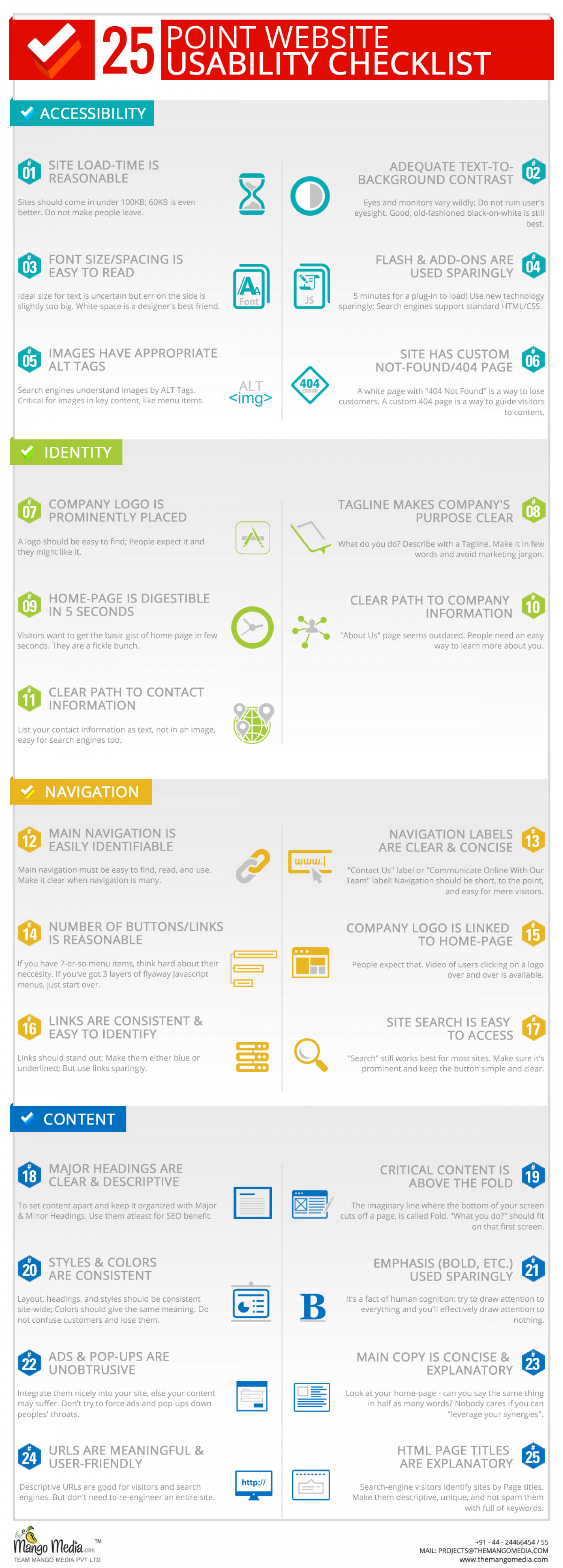 The 25 Website Checklist Factors are not Just Guidelines. Infographic