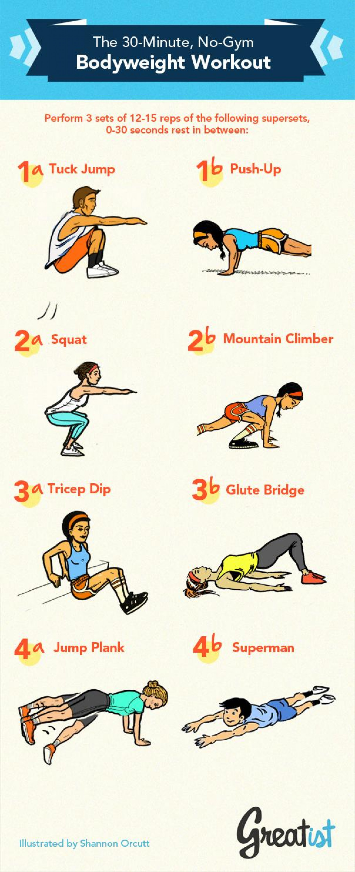 The 30 Minute No Gym Bodyweight Infographic