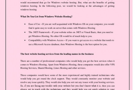 The Amazing Advantages of Windows Website Hosting Infographic
