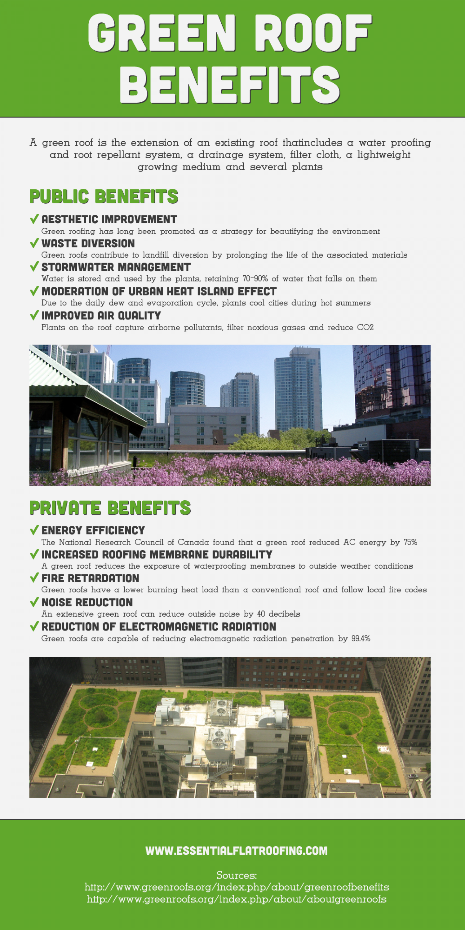 The Benefits of Green Roofing Infographic