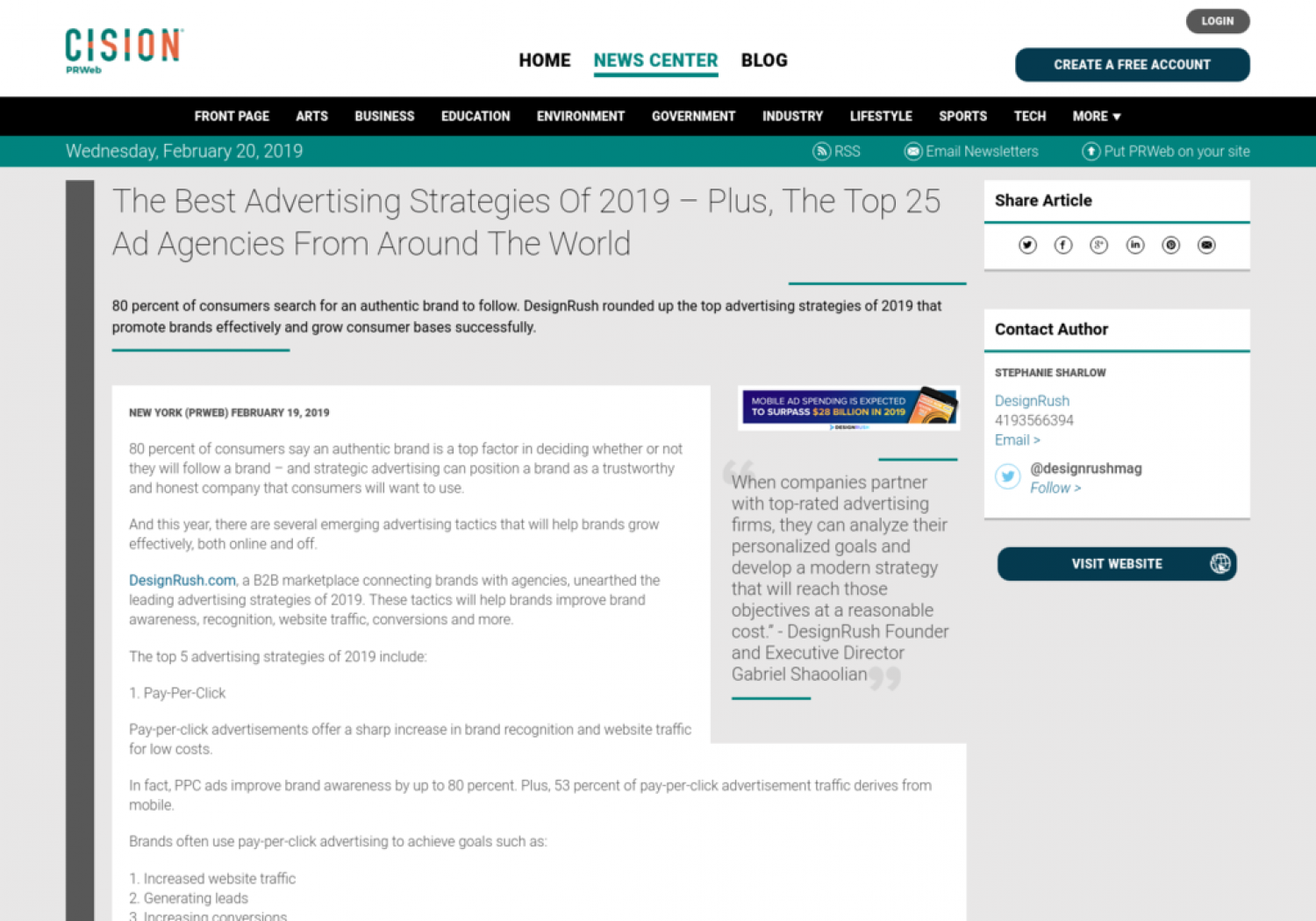 The Best Advertising Strategies Of 2019 – Plus, The Top 25 Ad Agencies From Around The World Infographic