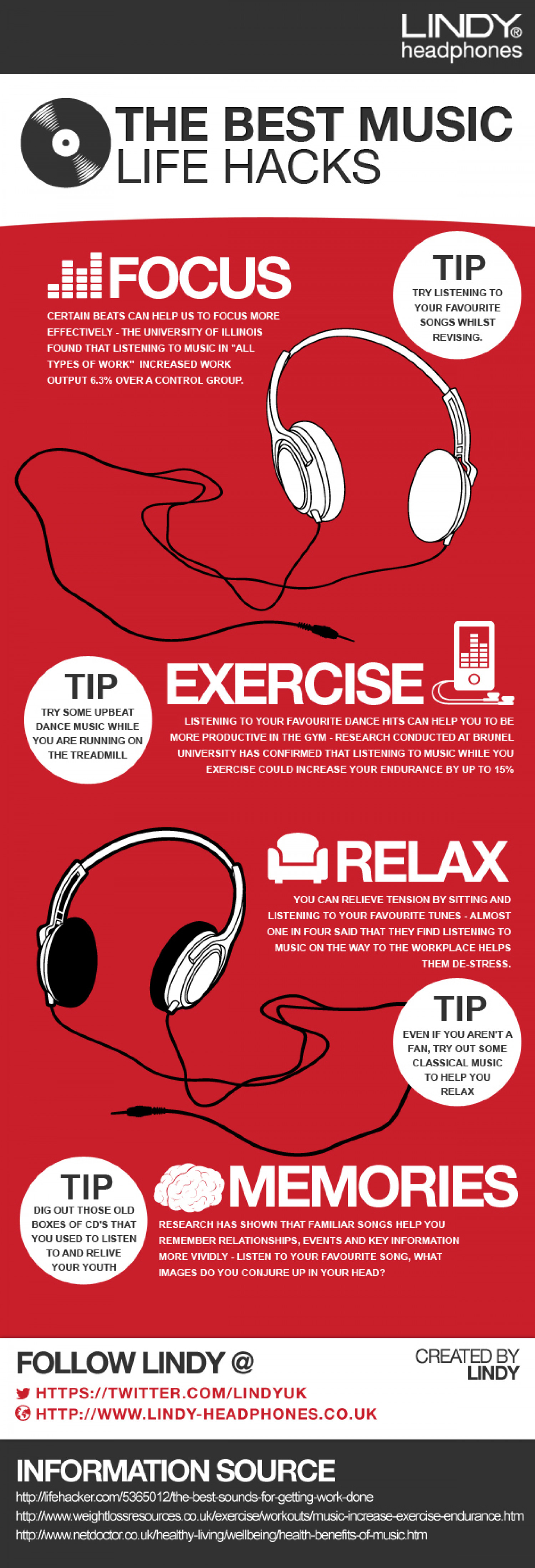 The Best Music Life Hacks Infographic