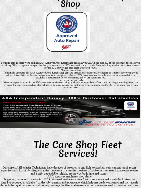 The Care Shop : More Experienced Auto Repair Shops Infographic