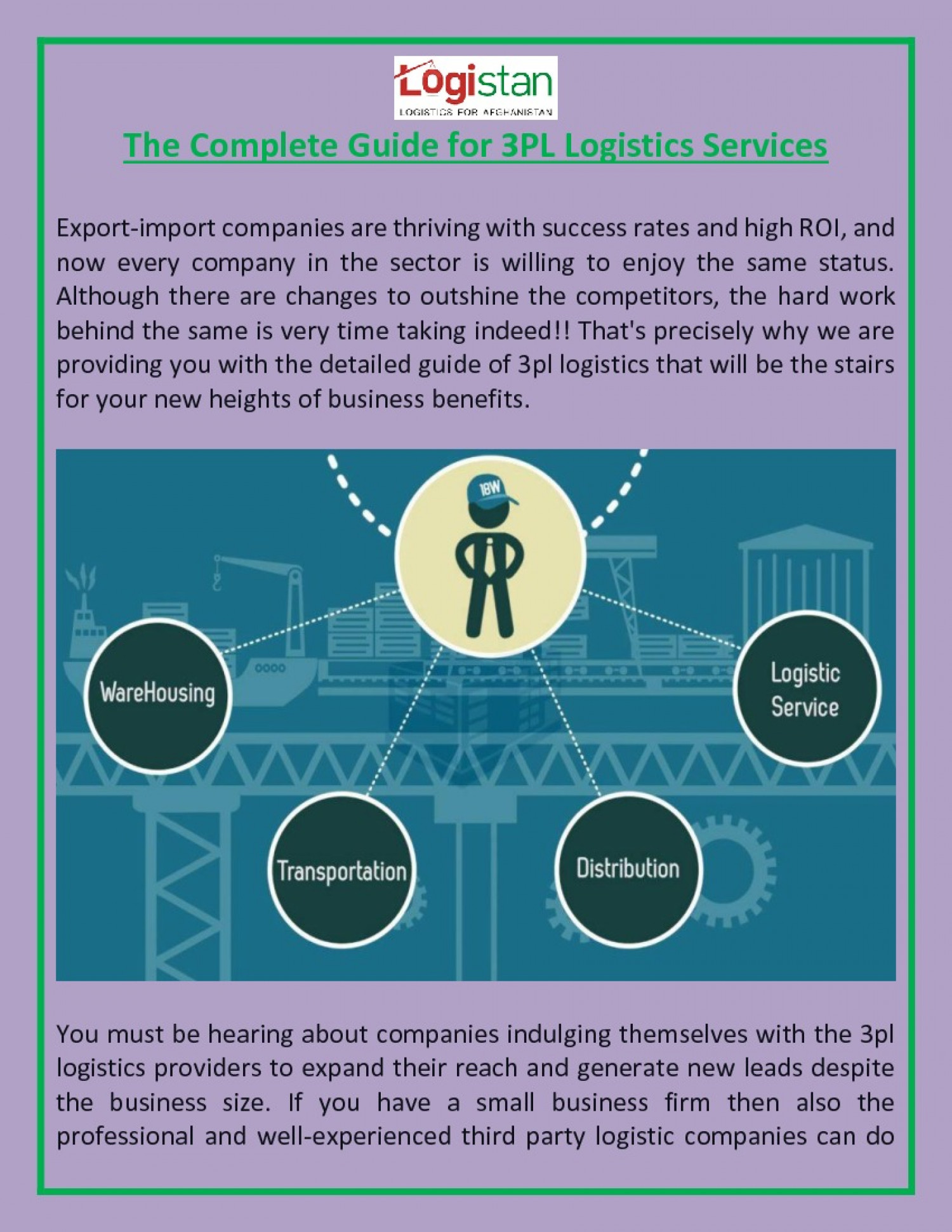The Complete Guide for 3PL Logistics Services Infographic