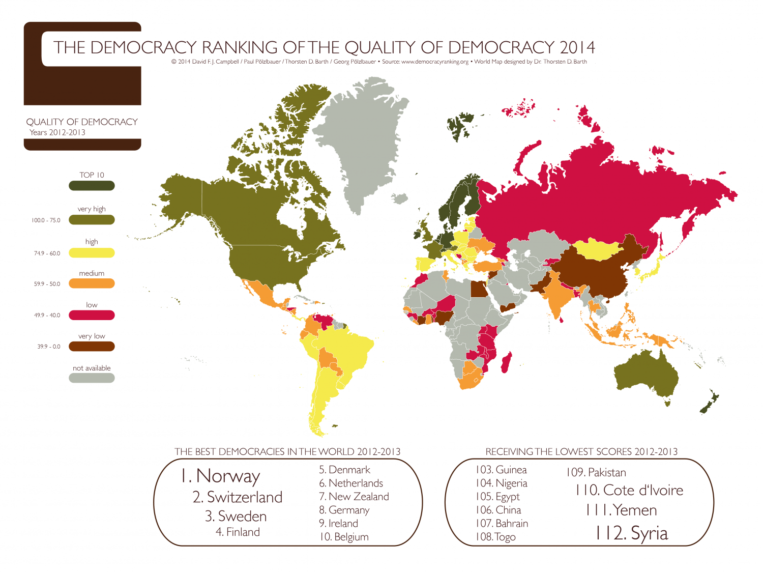 The Democracy Ranking of the Quality of Democracy 2014 (Covered Years 2012-2013)  Infographic