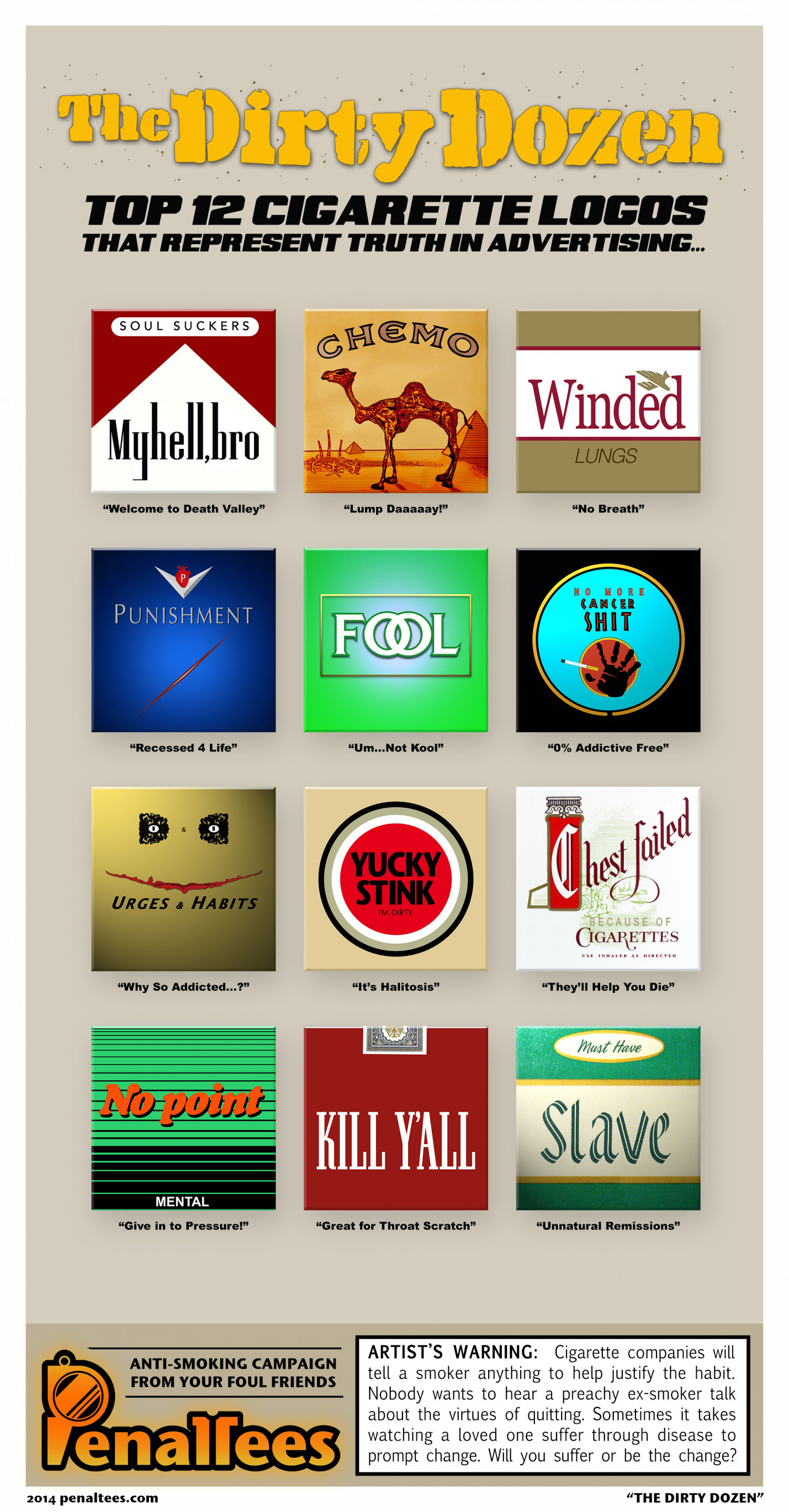 The Dirty Dozen: Top 12 Cigarette Logos that Represent Truth in Advertising Infographic