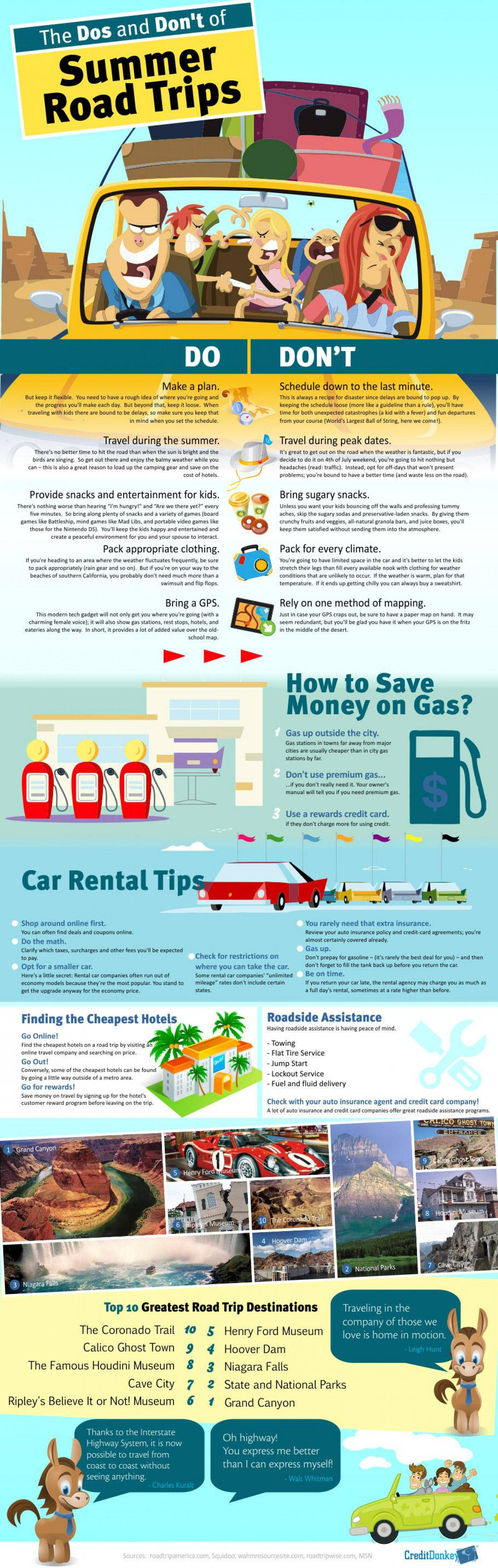 The Dos and Don't of Summer Road Trips Infographic