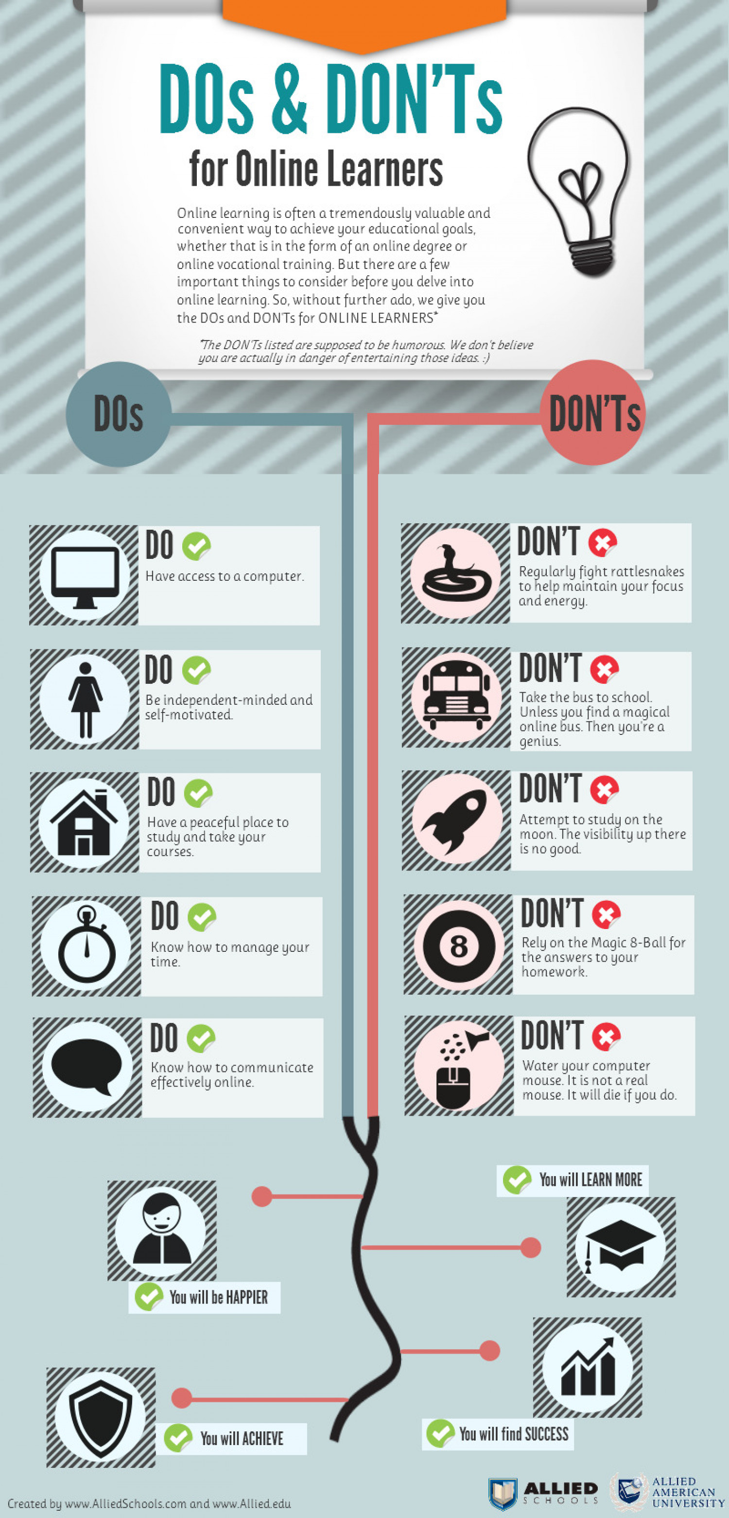 the dos and don ts for online learners visual ly