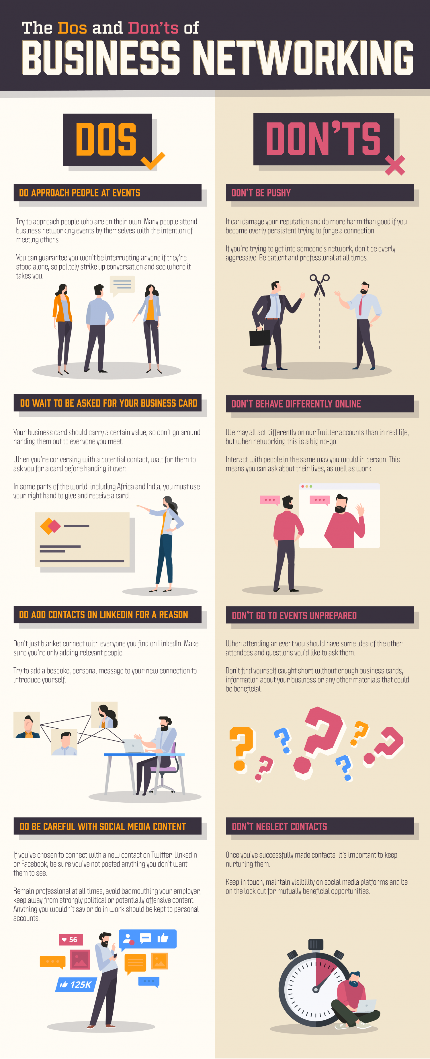 The Do's and Don'ts of Business Networking Infographic