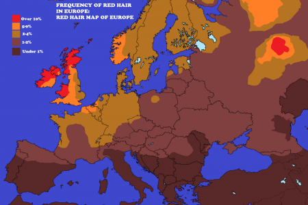 The Frequency Of Red Hair Across Europe Infographic