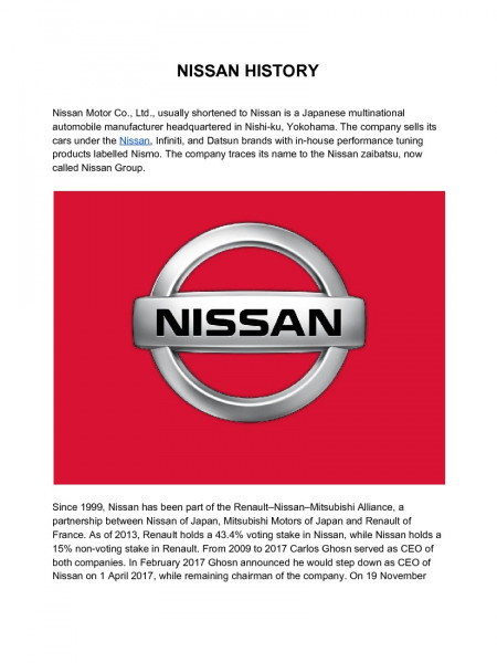 The Greatest History of Nissan Motor Company Infographic