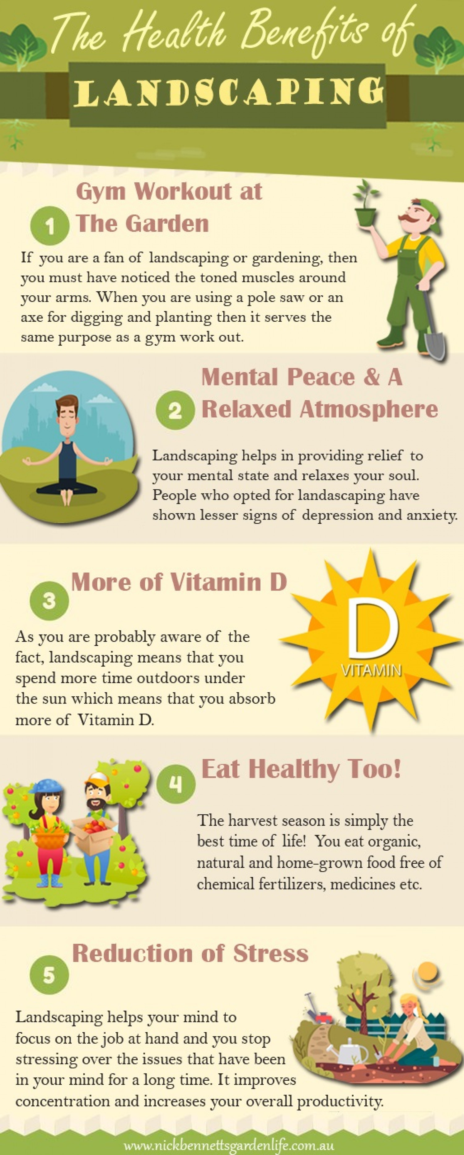 The Health Benefits of Landscaping Infographic