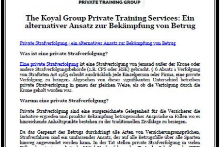 The Koyal Group Private Training Services: Ein alternativer Ansatz zur Bekämpfung von Betrug Infographic
