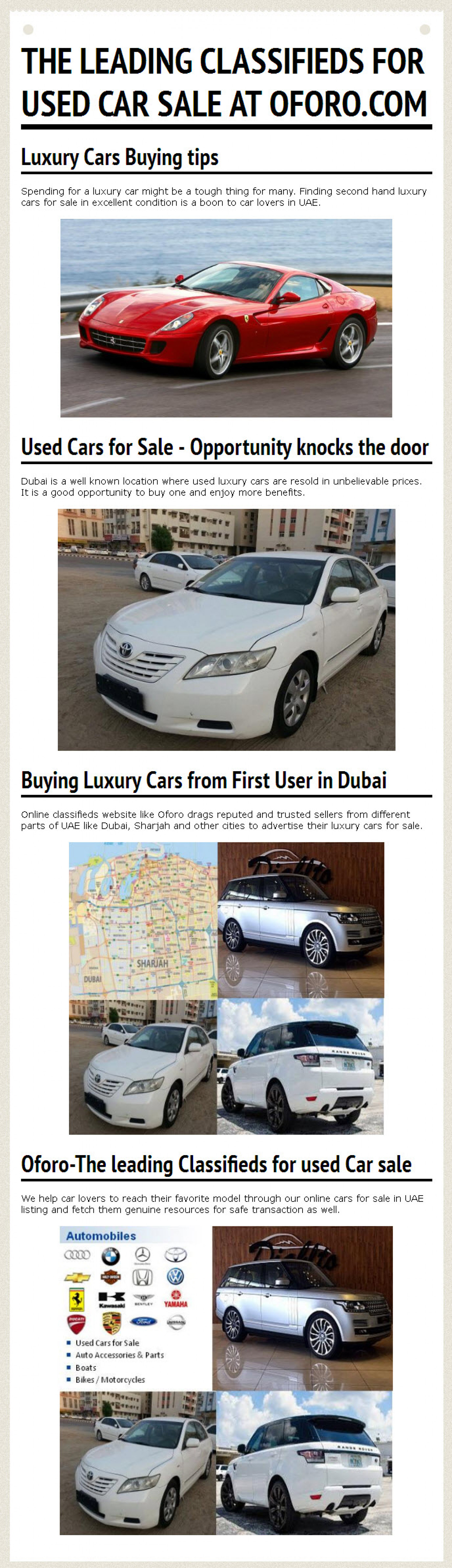 The leading Classifieds for used Car sale at oforo.com | Visual.ly