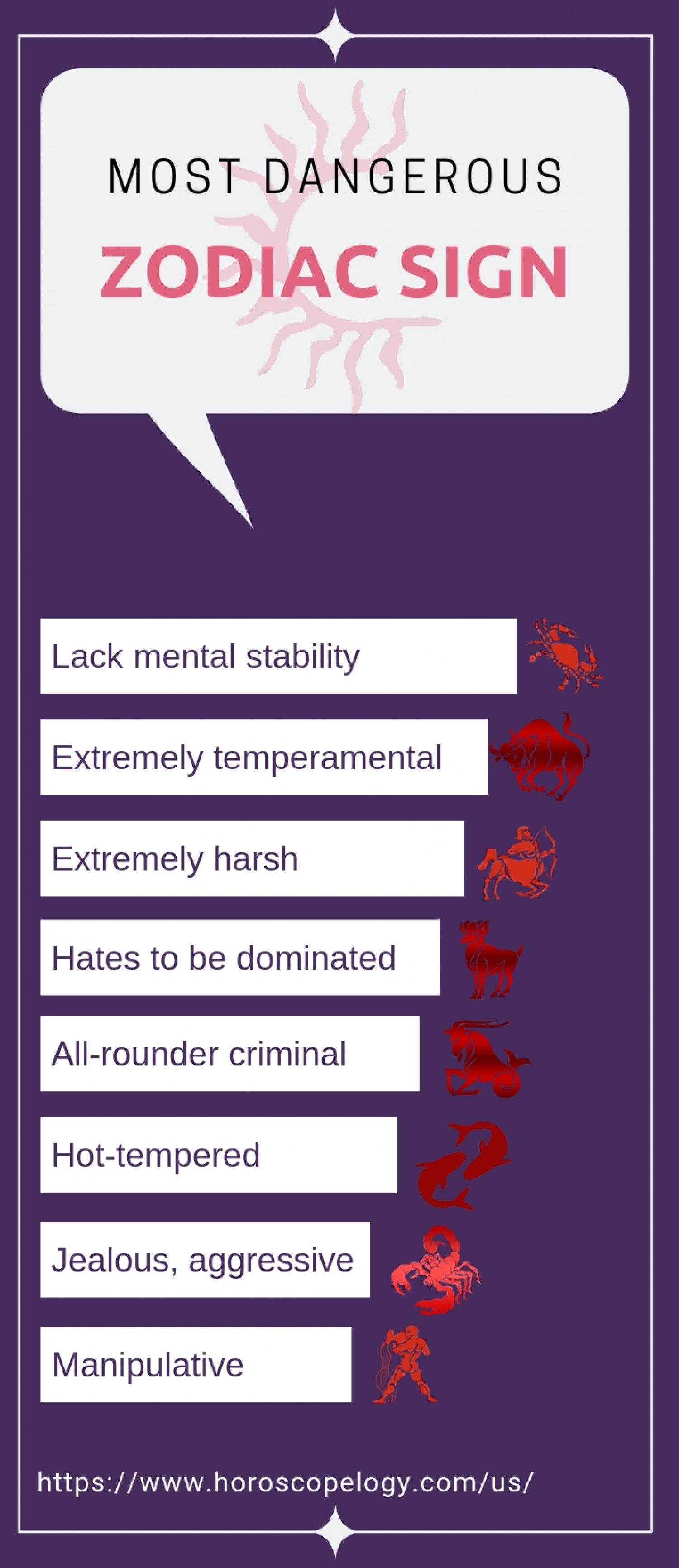 The Most Dangerous Zodiac Signs - Infographic Infographic