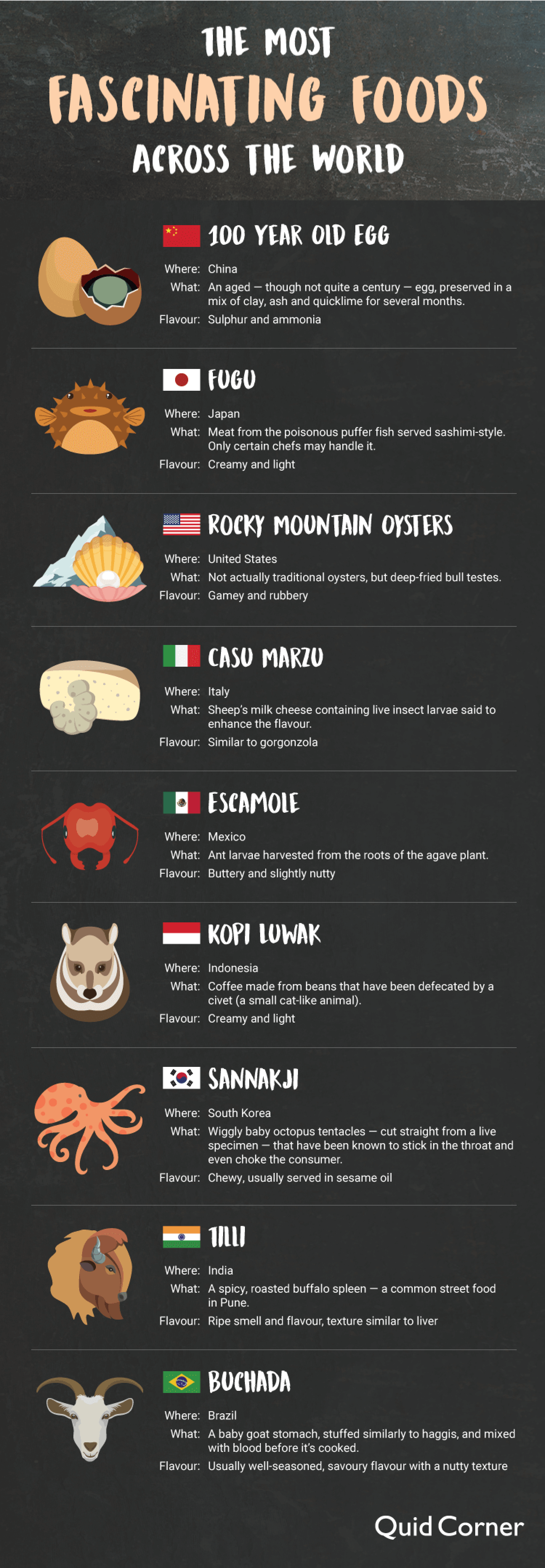 The Most Fascinating Foods Across the World Infographic