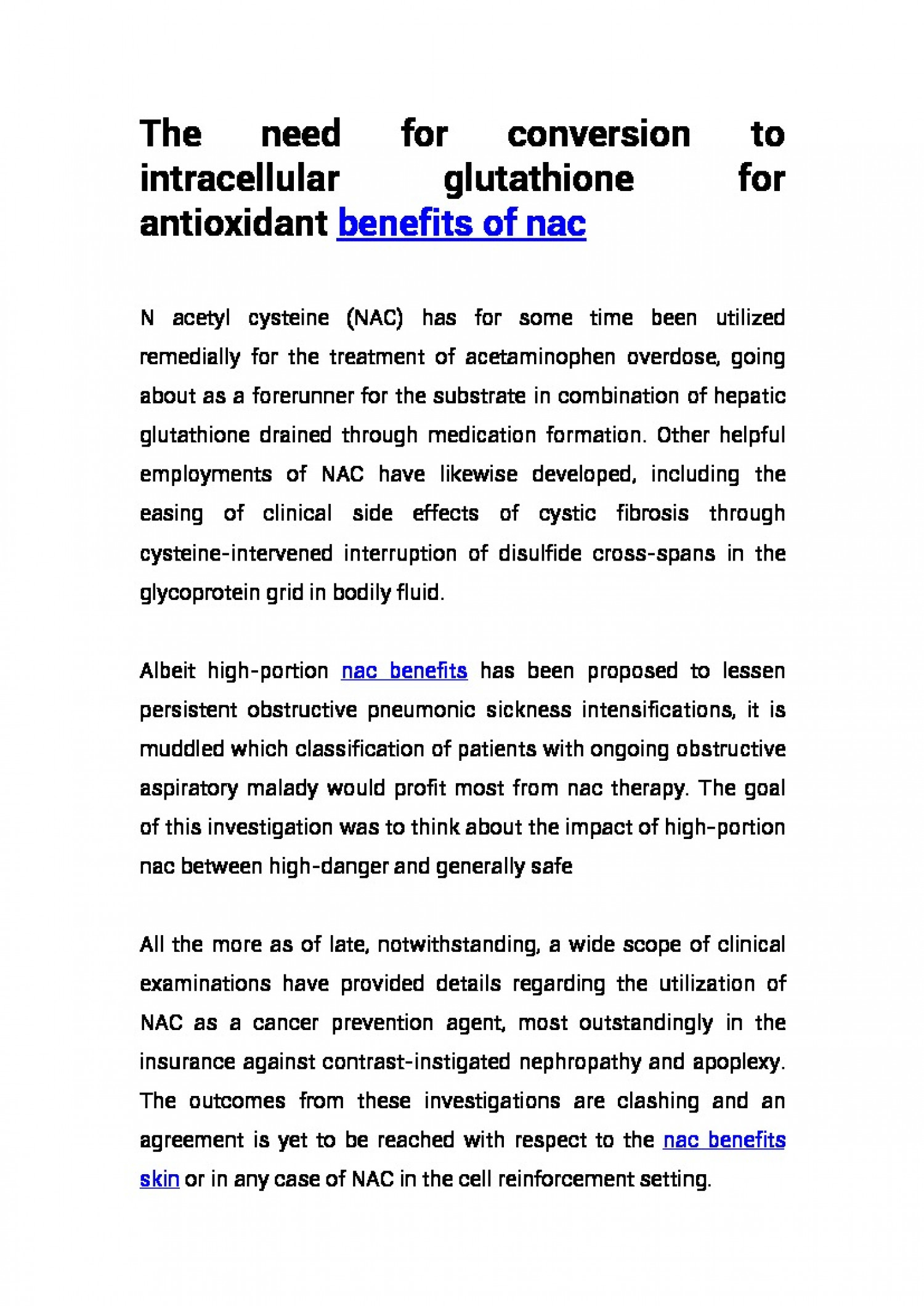 The need for conversion to intracellular glutathione for antioxidant benefits of nac Infographic