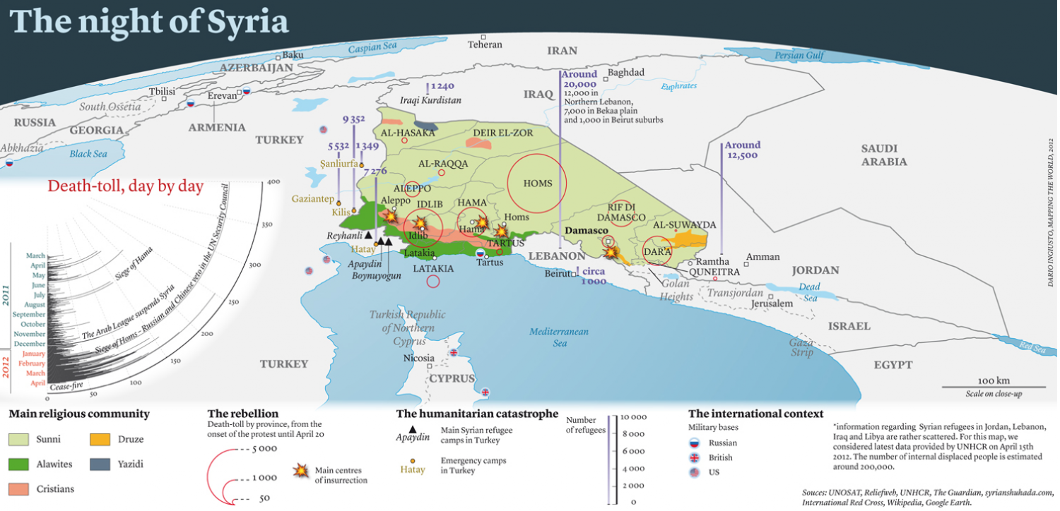 The Night Of Syria Interactive Visually - Syria interactive map