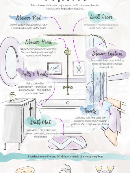 The One-Hour Bathroom Makeover Infographic