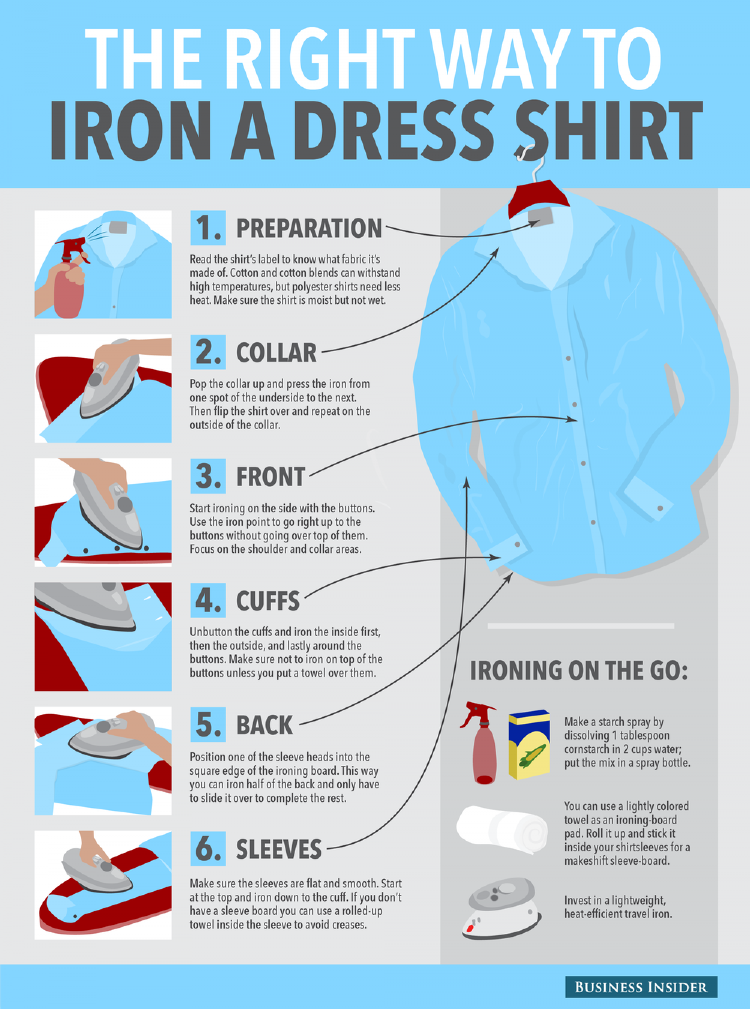 The right way to iron a dress shirt | Visual.ly