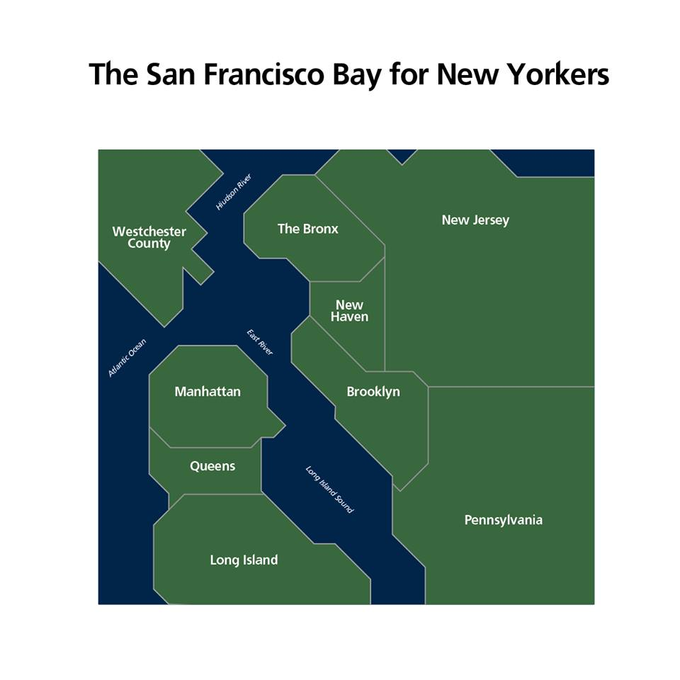 The San Francisco Bay For New Yorkers Visual Ly From the moving through life collection curated by thom filicia for soicher marin framed giclee print black farmed upper new york bay ~ manhattan, new york. the san francisco bay for new yorkers