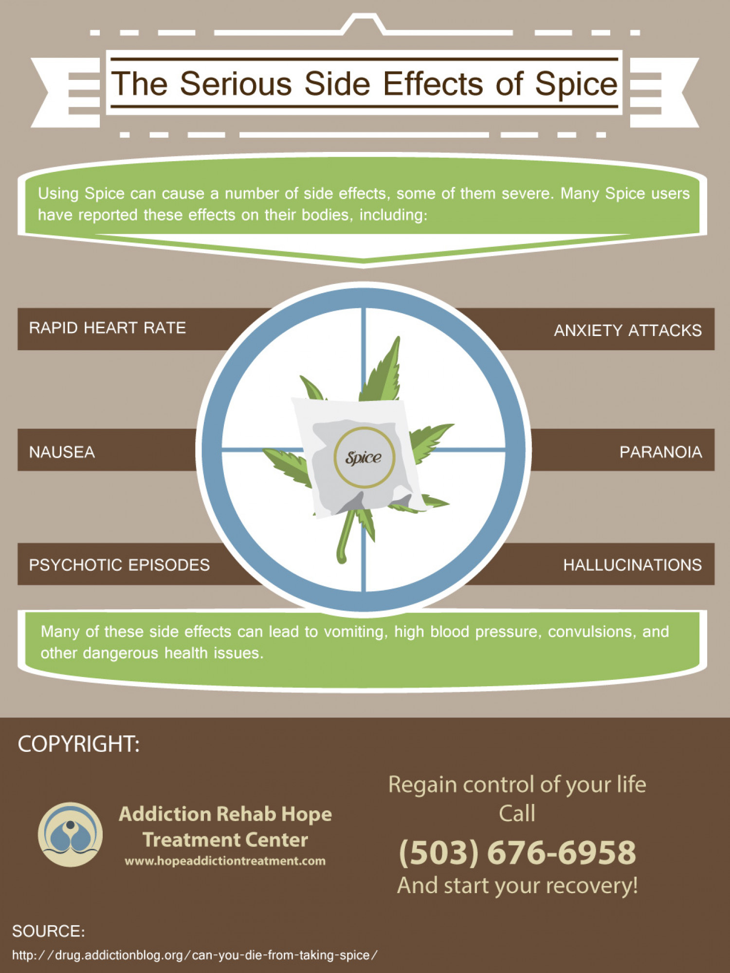 The Serious Side Effects of Spice | Addiction Rehab Hope Treatment Center Infographic