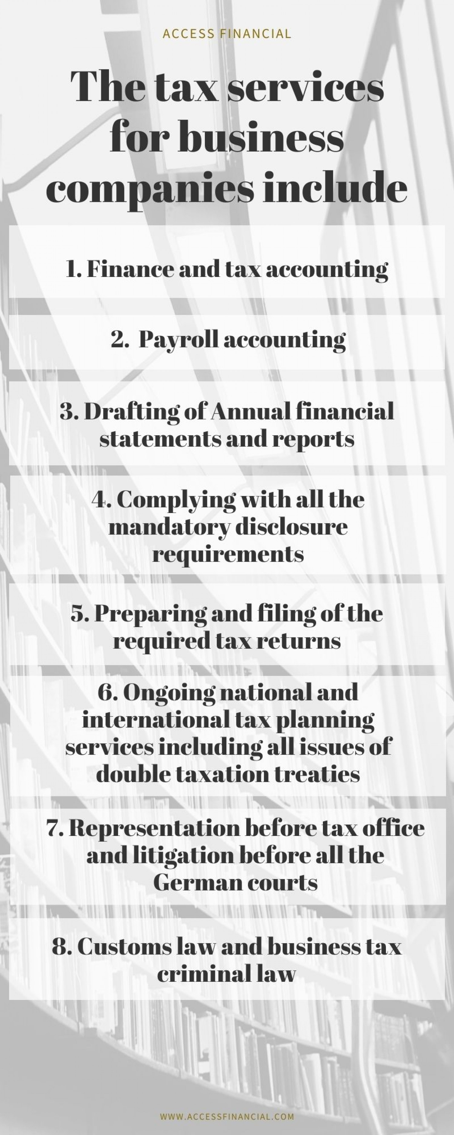 The tax services for business companies include Infographic
