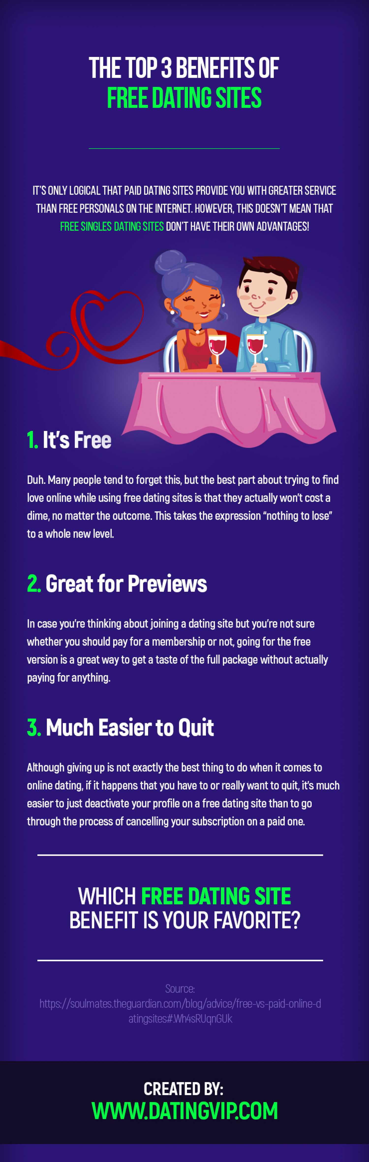 The Top 3 Benefits of Free Dating Sites Infographic