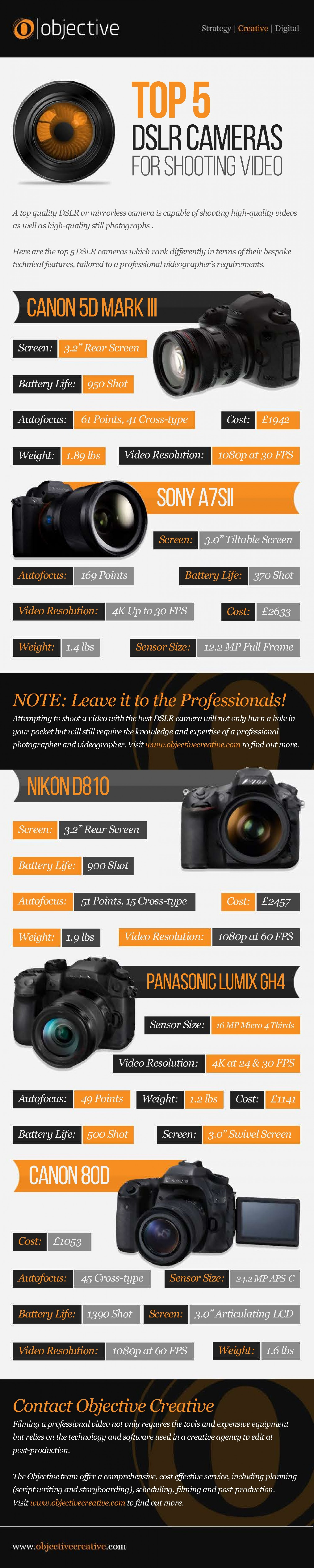 The Top 5 DSLR Cameras For Video Infographic