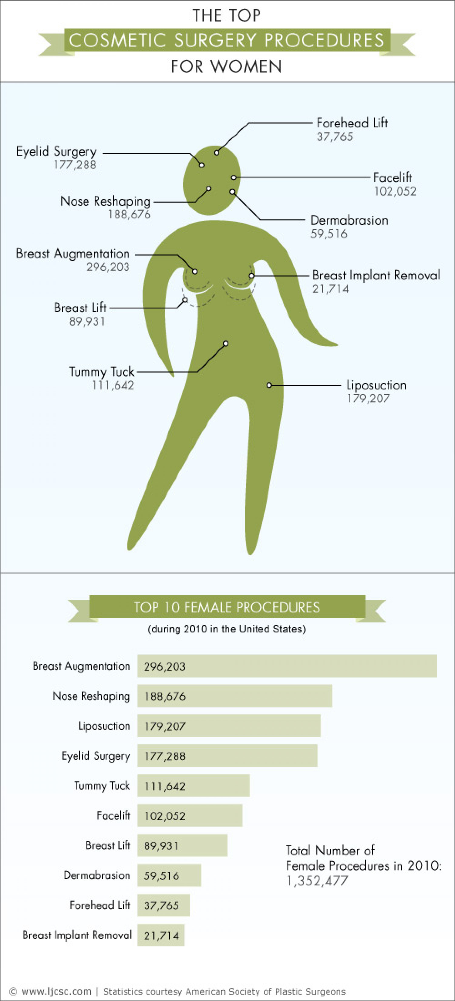 The Top Cosmetic Surgery Procedures for Women Infographic