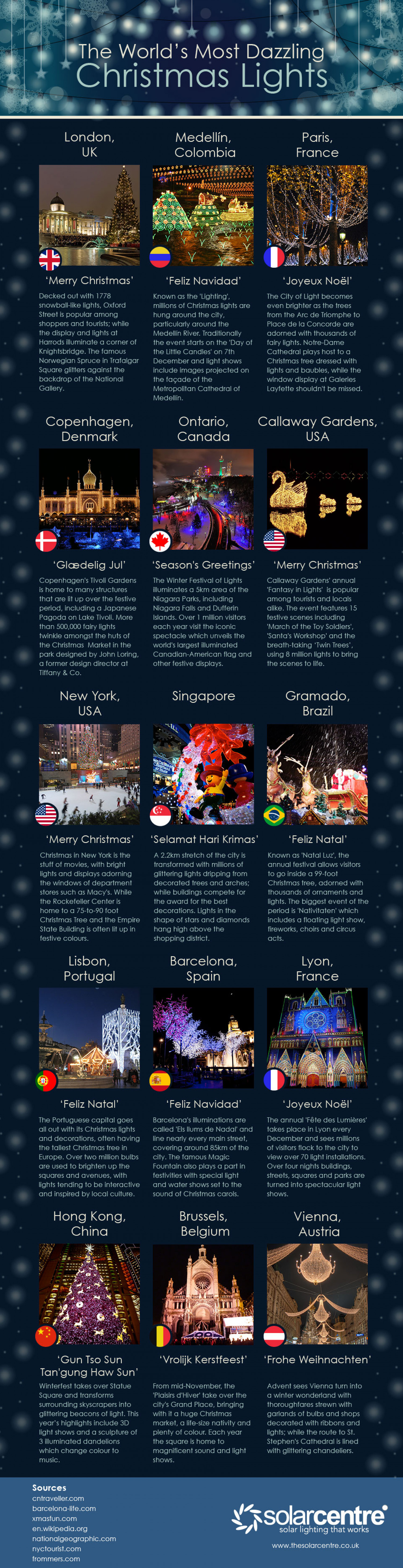 The World's Most Dazzling Christmas Lights Infographic