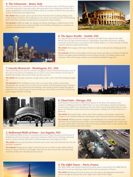 The world's most popular destinations to photograph Infographic