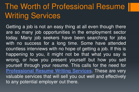 The Worth of Professional Resume Writing Services Infographic