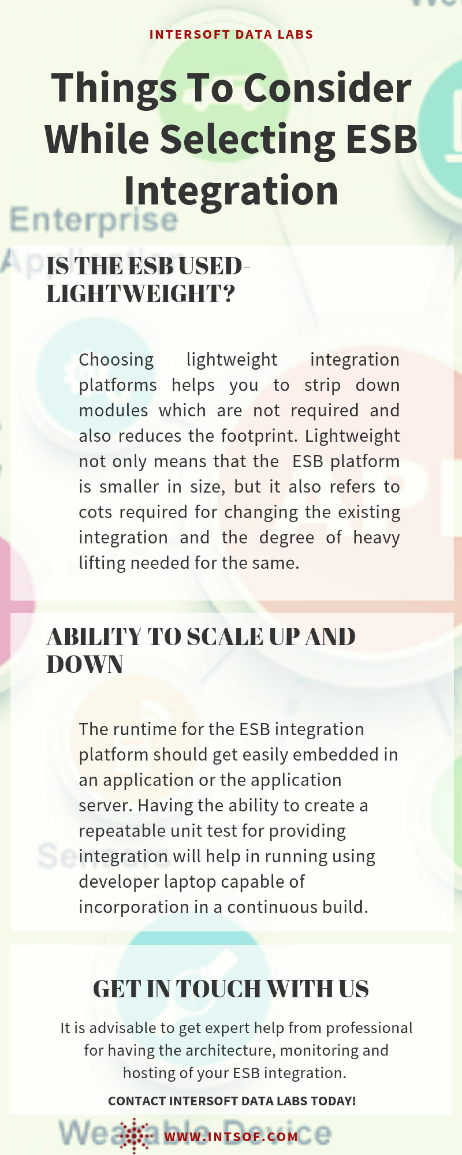 Things To Consider While Selecting ESB Integration Infographic
