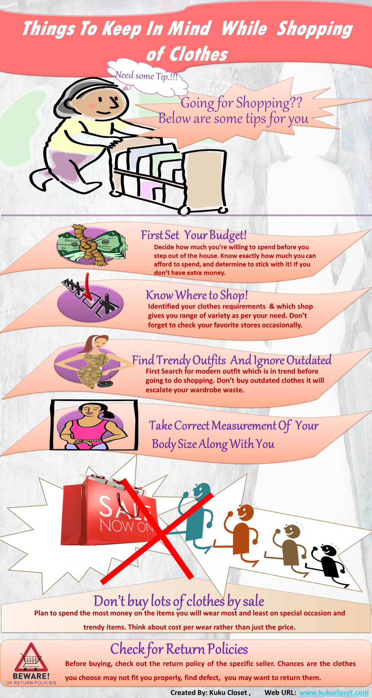 Things To Keep In Mind  While  Shopping  Of Clothes Infographic