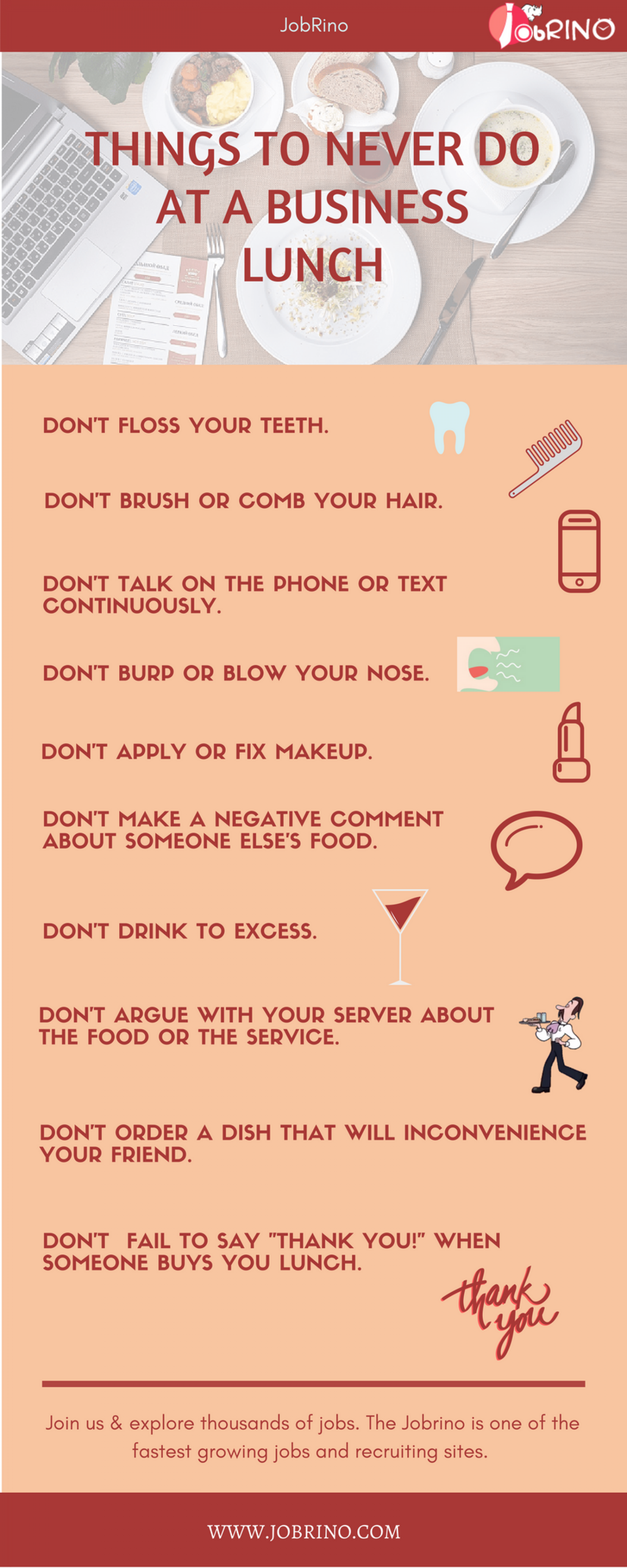 Things to never do at a #business lunch. Also, find #job #interview mistakes  Infographic