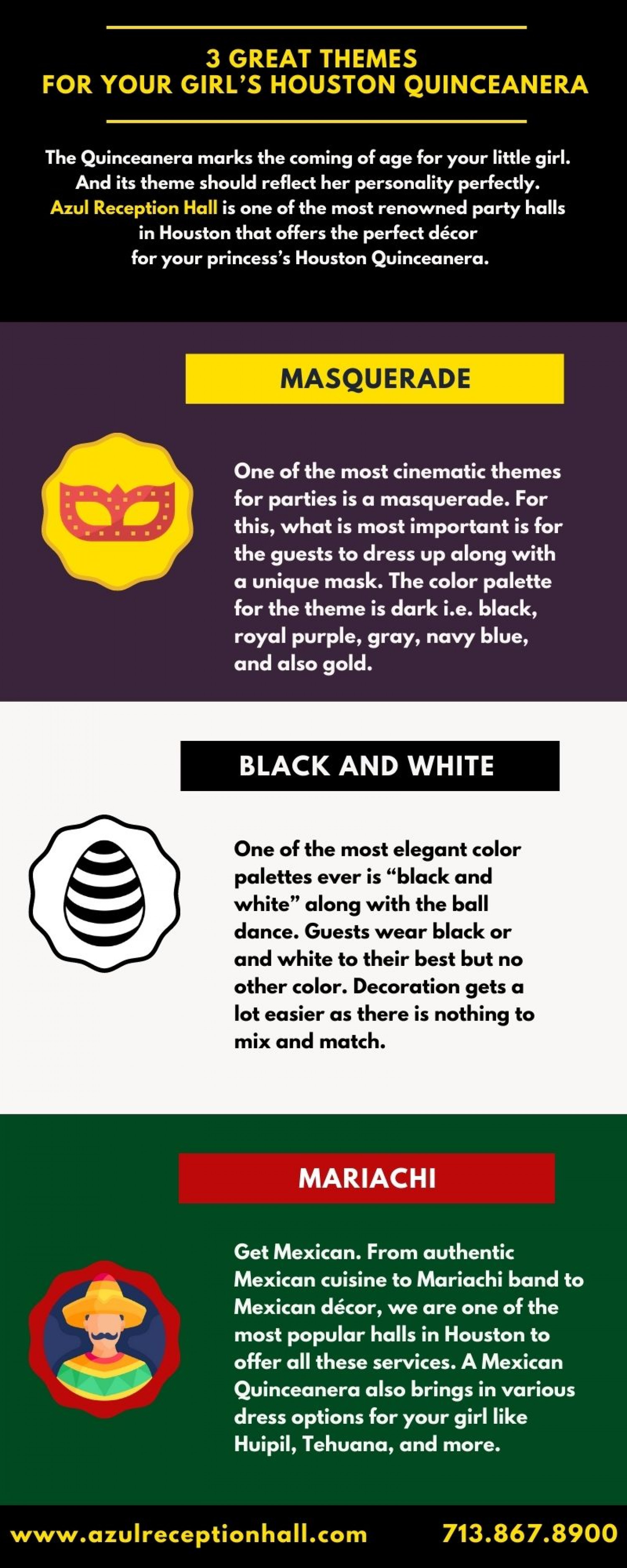 Three Great Themes For your Girl's Houston Quinceanera Infographic