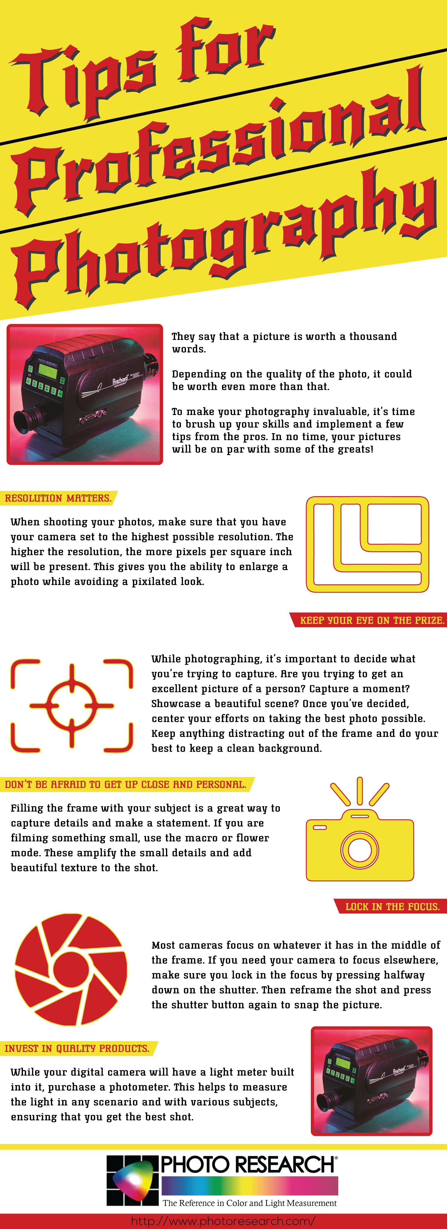 Tips for Professional Photography Infographic