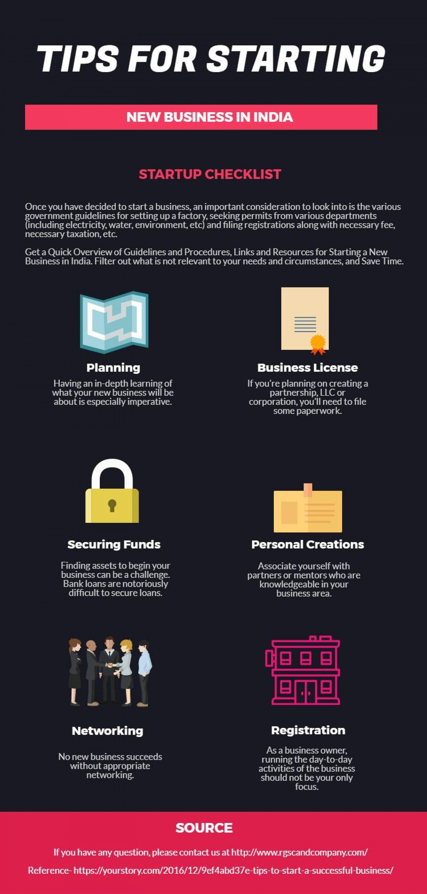 Tips for Starting New Business in India- RGSC and Company Infographic