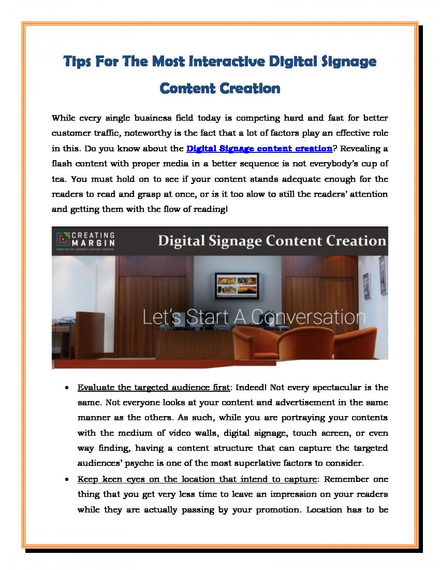 Tips For The Most Interactive Digital Signage Content Creation Infographic