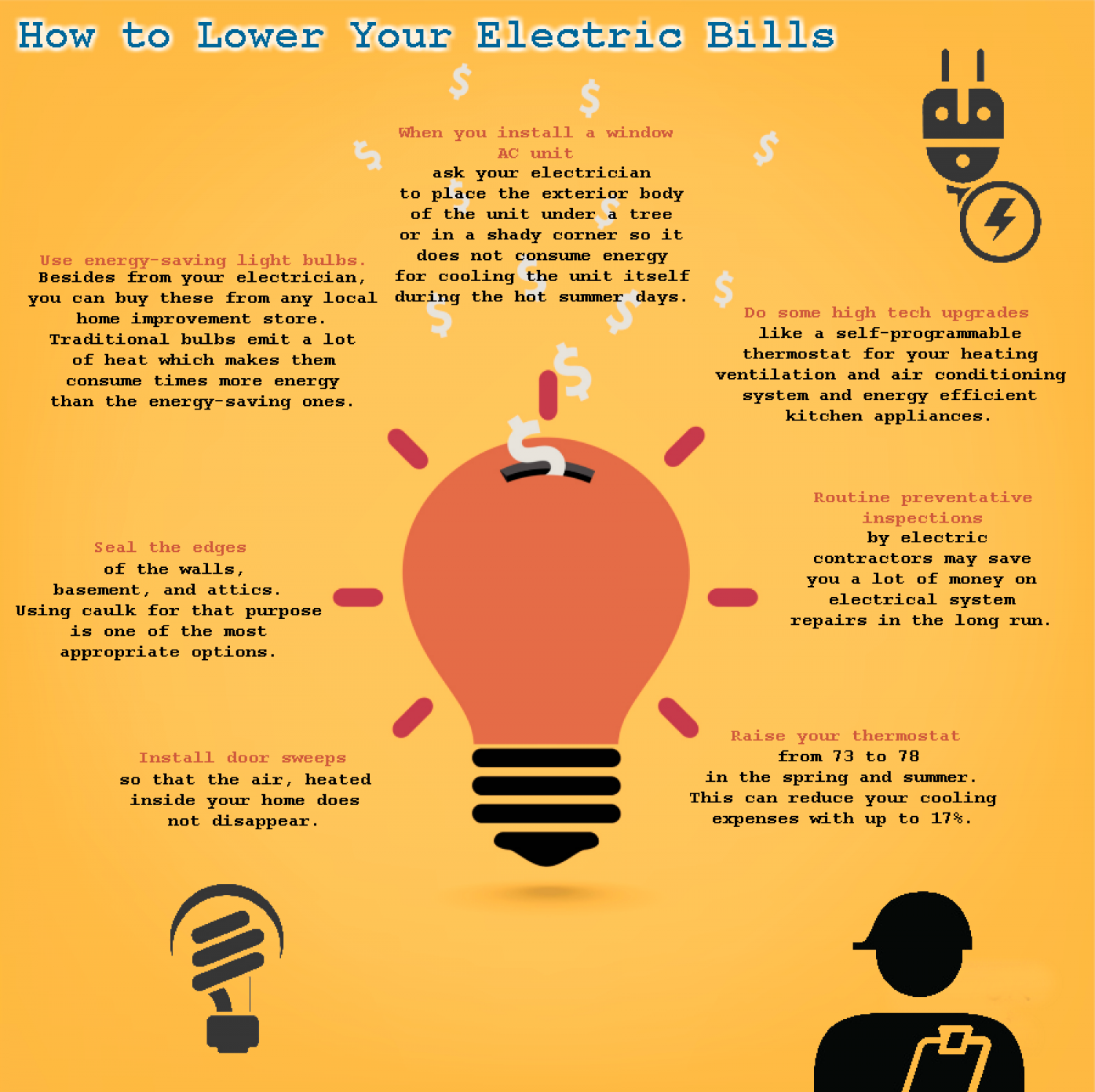 How to Lower Your Electric Bills  Infographic
