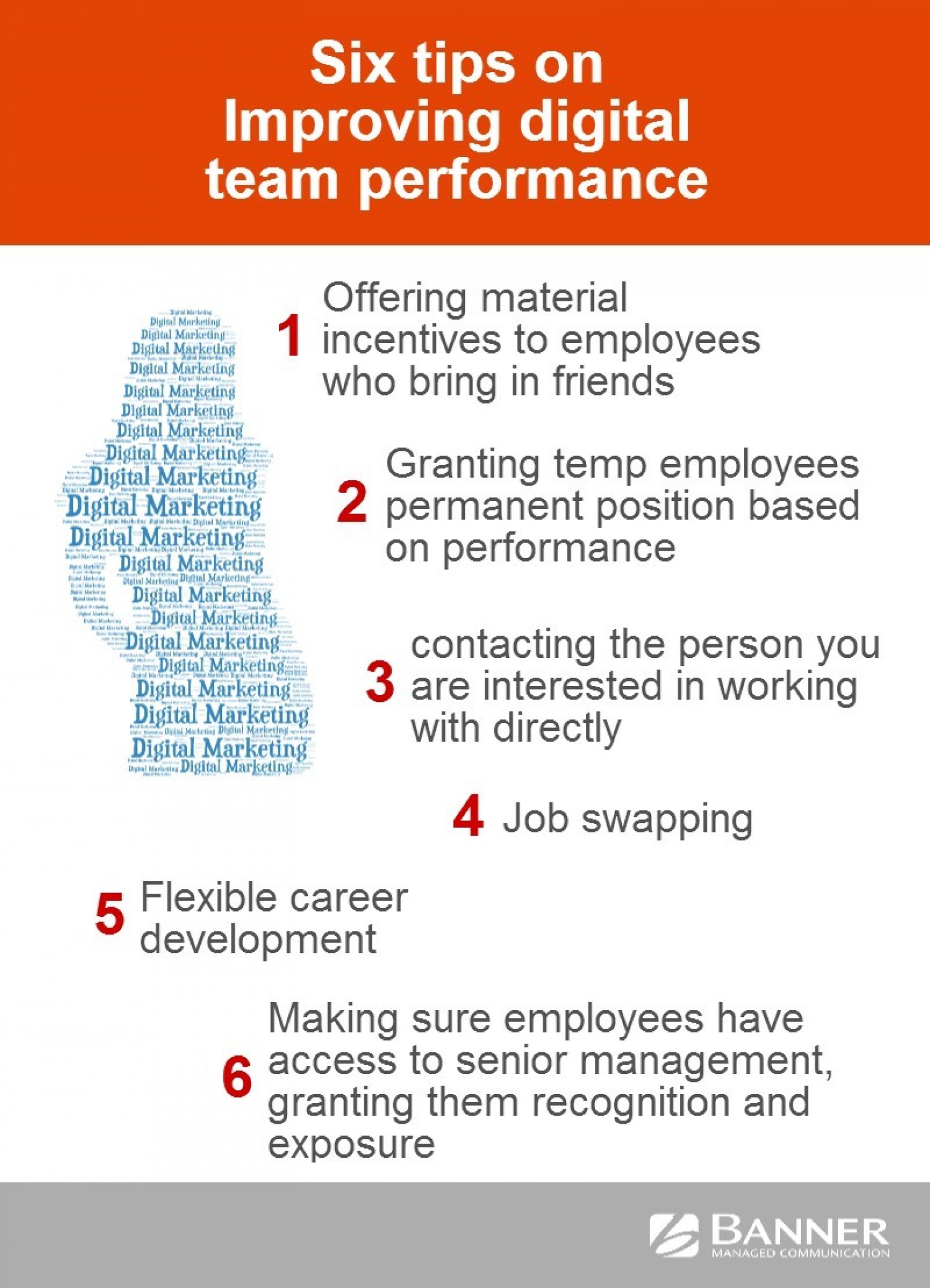 Tips On Improving Digital Team Performance Infographic